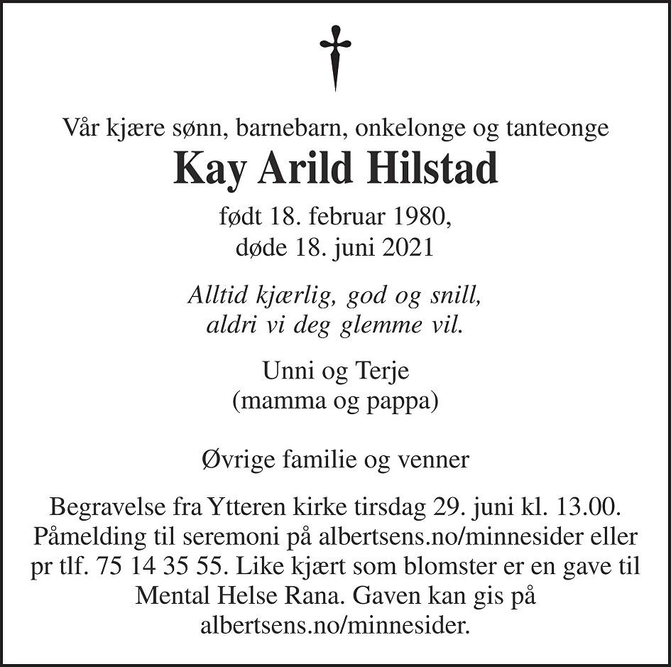 Kay Arild Hilstad Dødsannonse