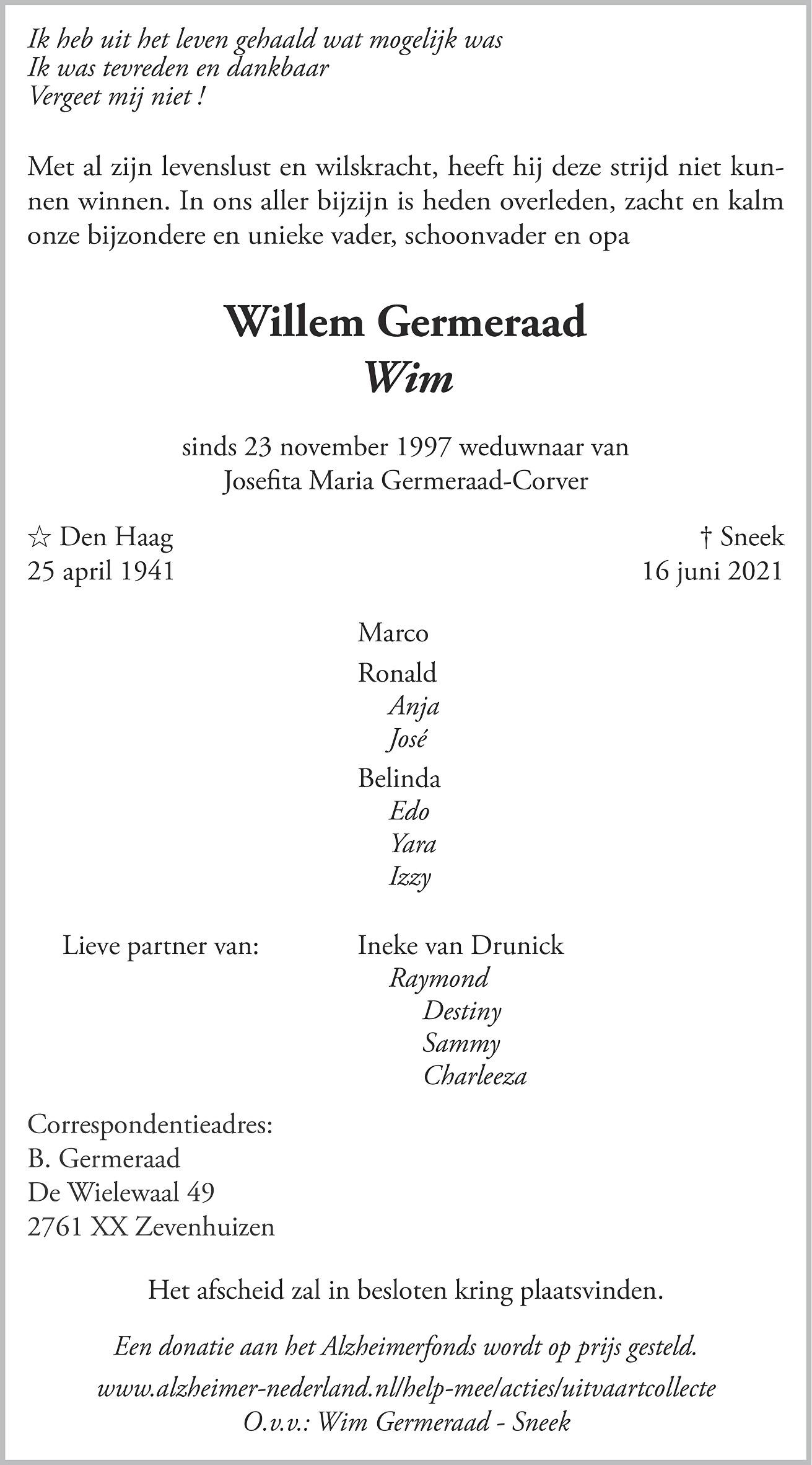 Willem Germeraad Death notice