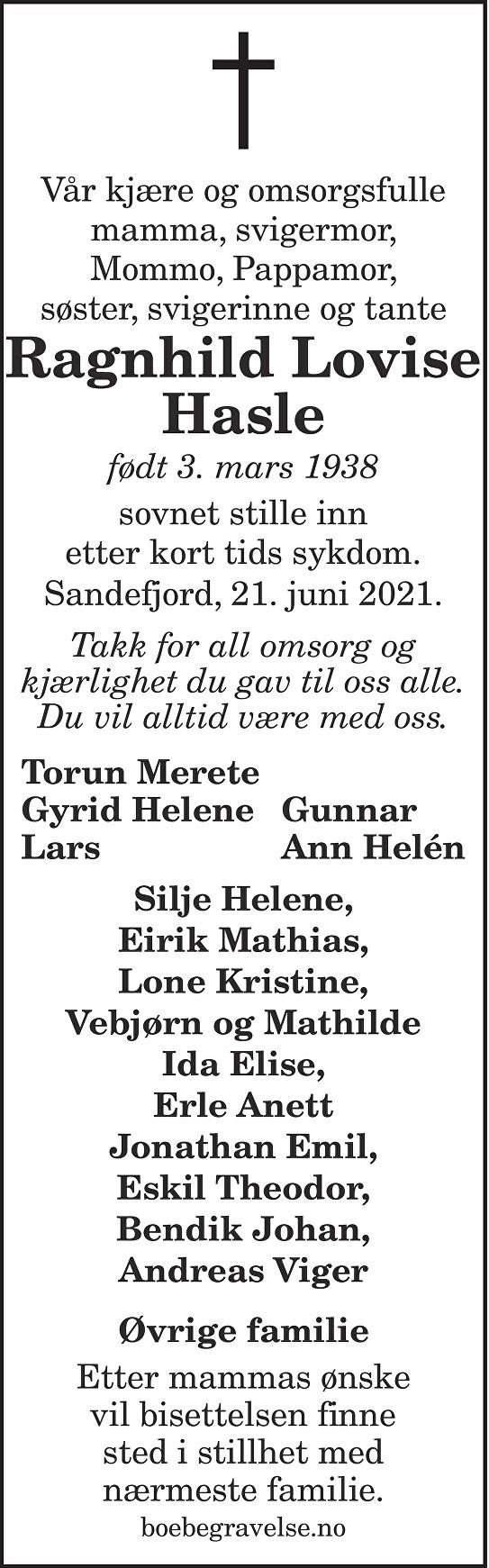 Ragnhild Lovise Hasle Dødsannonse