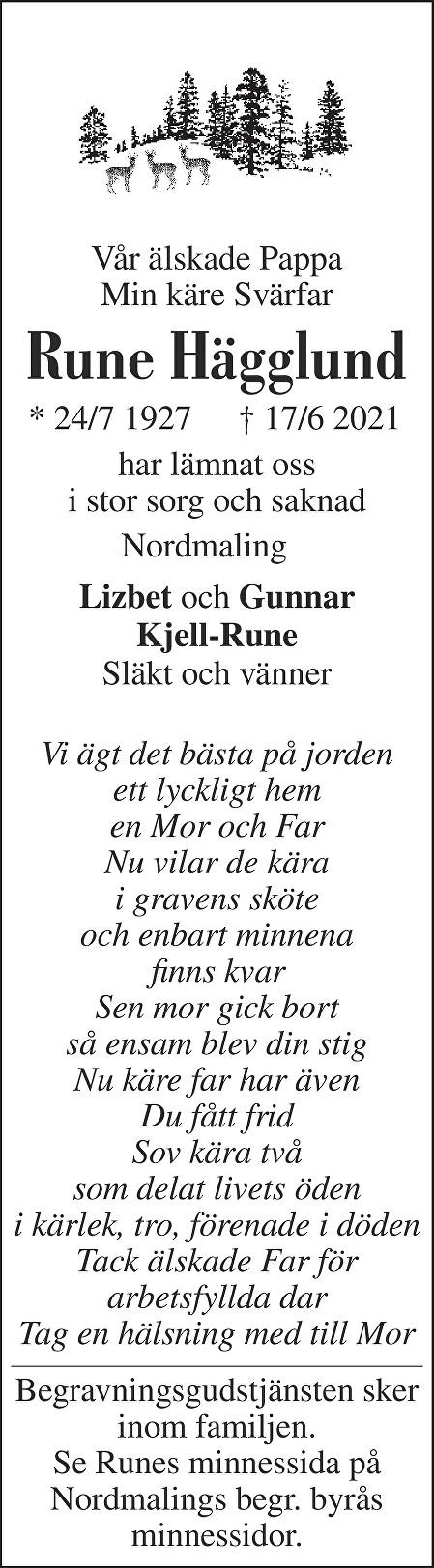 Rune Hägglund Death notice