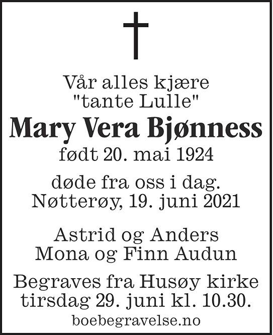 Mary Vera Bjønnes Dødsannonse