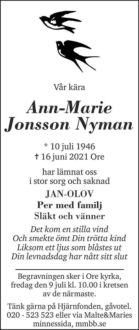Ann-Marie Jonsson Nyman Death notice