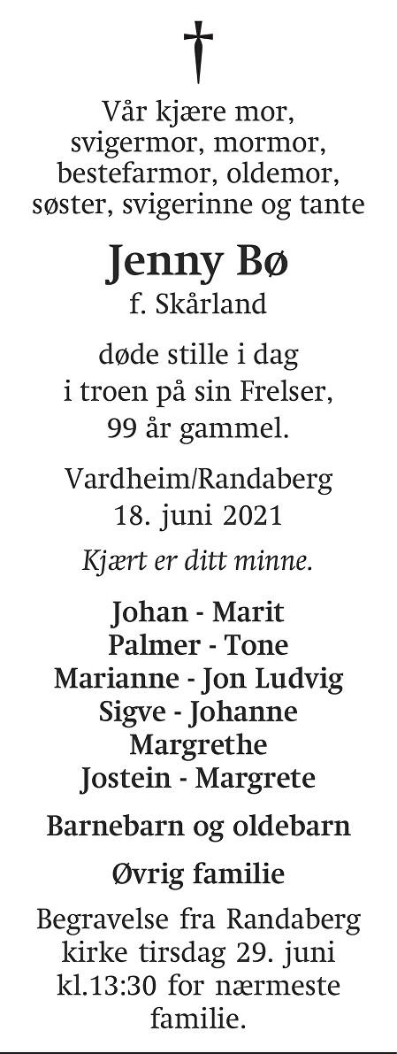 Jenny Bø Dødsannonse