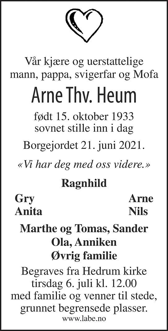 Arne Thorvald Heum Dødsannonse