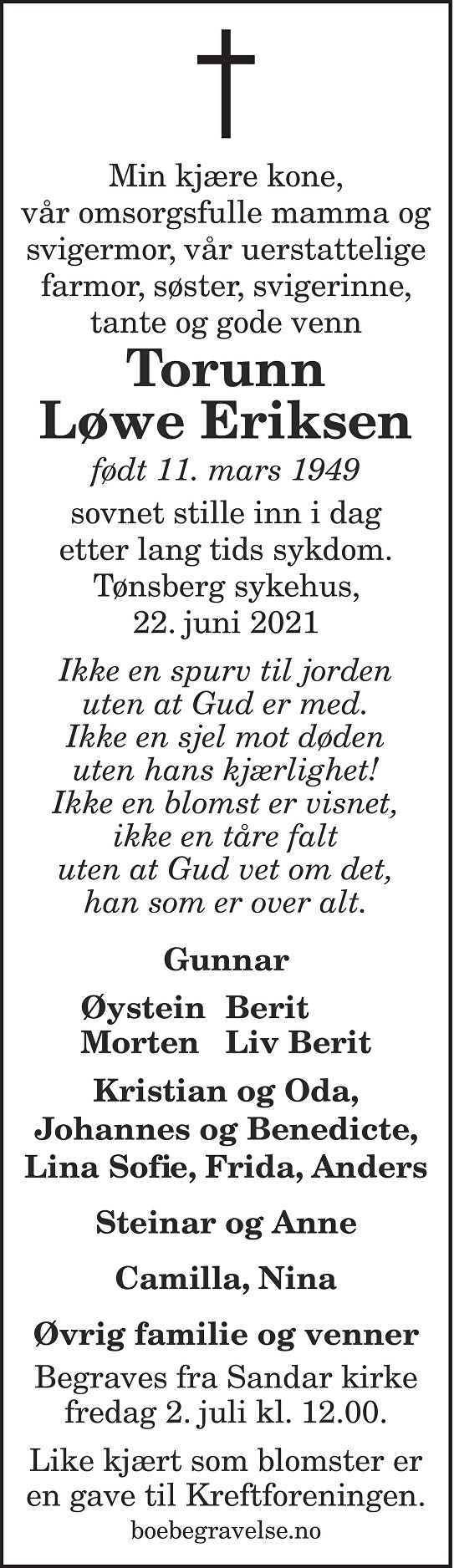 Torunn Johanne Løwe Eriksen Dødsannonse