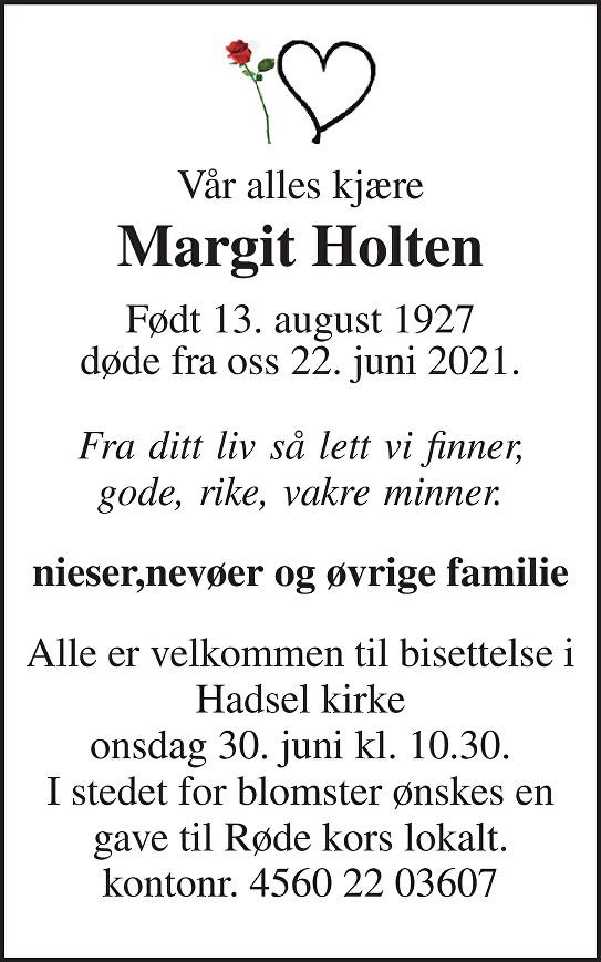 Margit Holten Dødsannonse