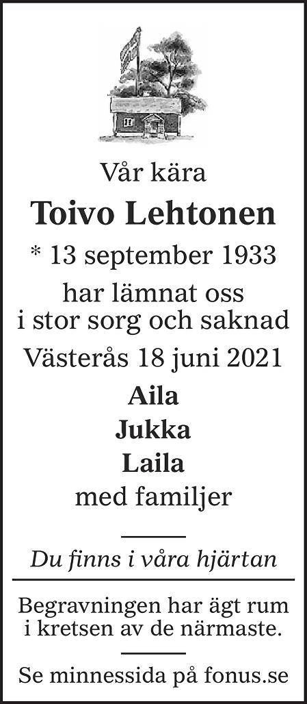 Toivo Lehtonen Death notice
