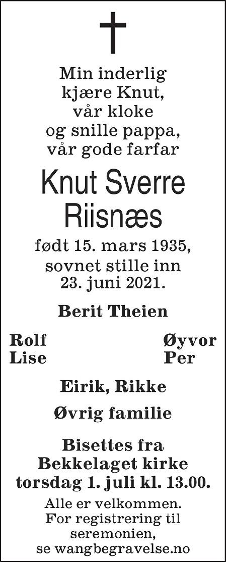 Knut Sverre Riisnæs Dødsannonse