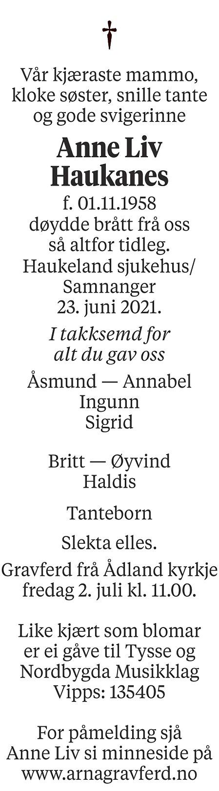 Anne Liv Haukanes Dødsannonse