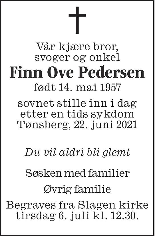 Finn Ove Pedersen Dødsannonse
