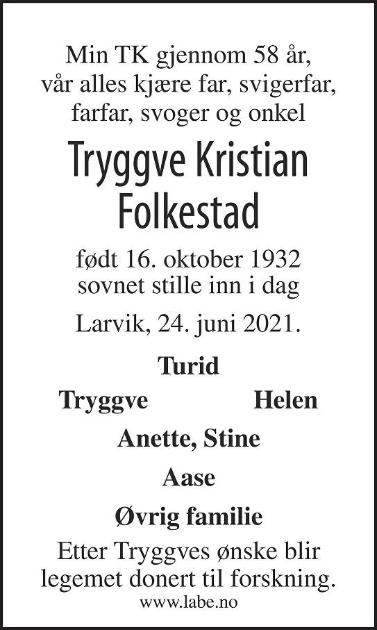 Tryggve Kristian Anton Folkestad Dødsannonse