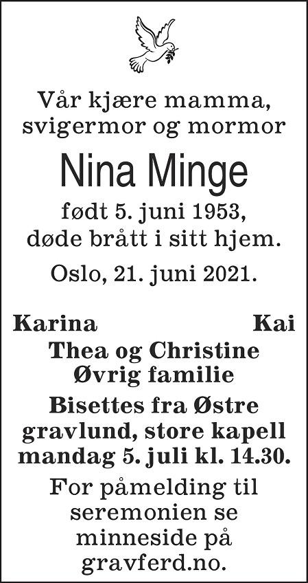 Nina Minge Dødsannonse