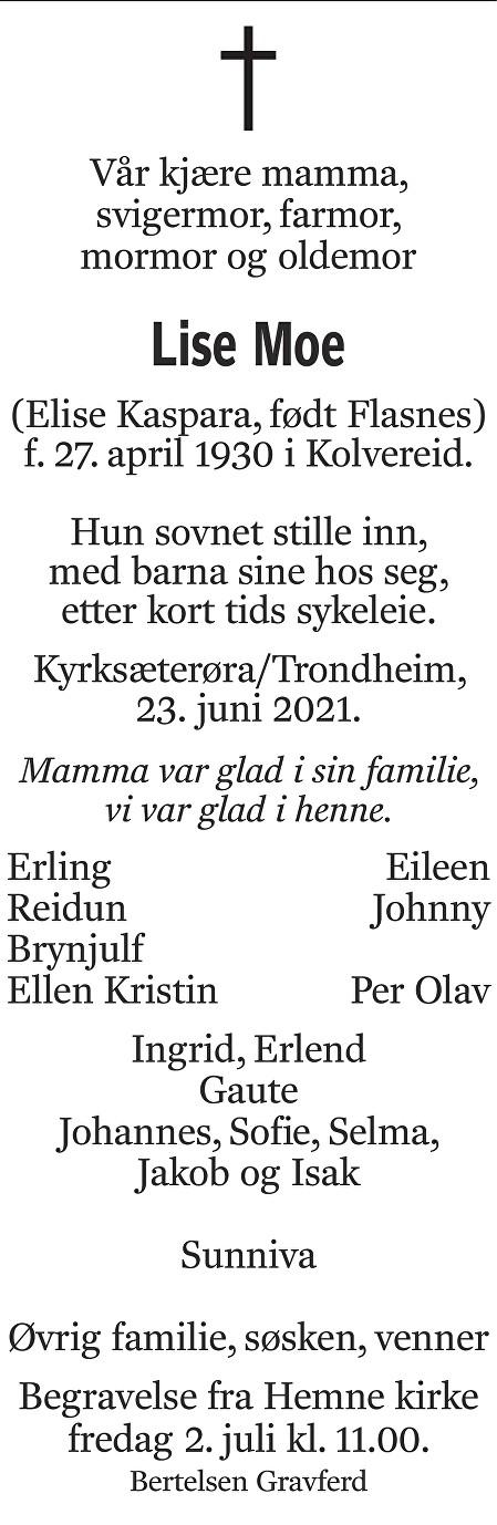 Lise Moe Dødsannonse