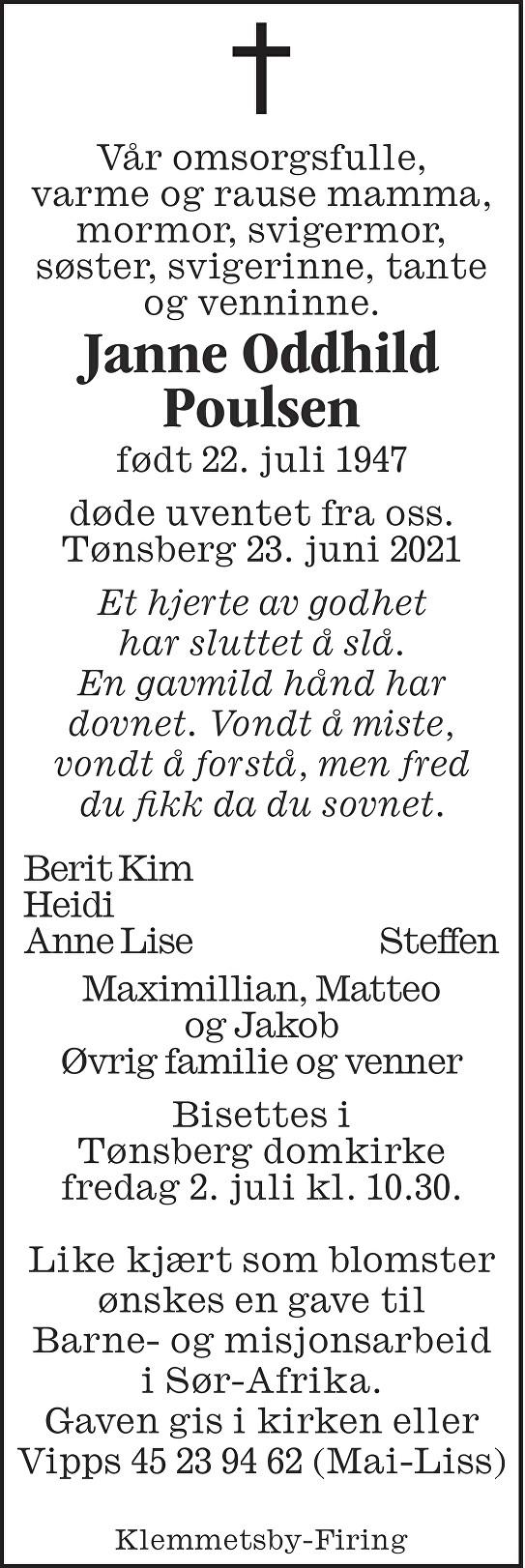 Janne Oddhild Poulsen Dødsannonse
