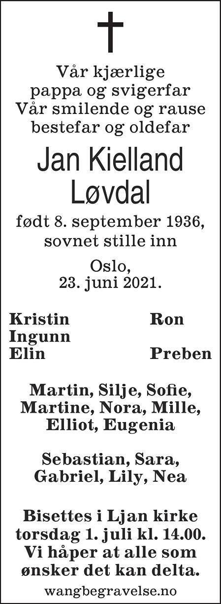 Jan Løvdal Dødsannonse