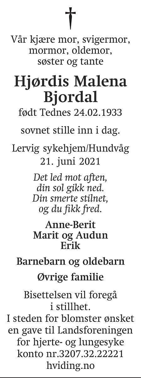 Hjørdis Malena Bjordal Dødsannonse