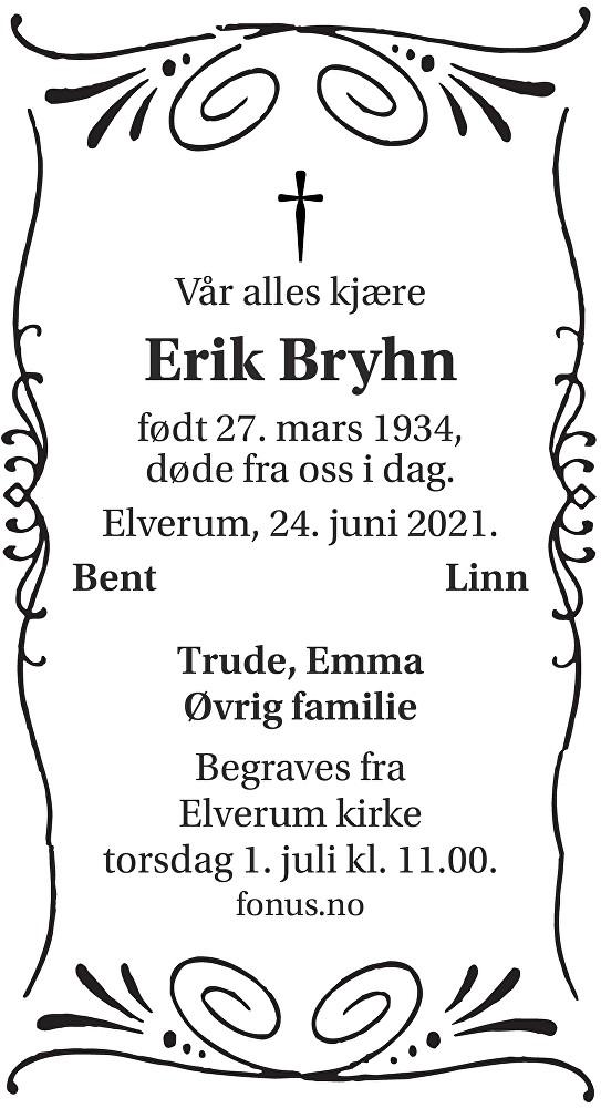 Erik Bryhn Dødsannonse
