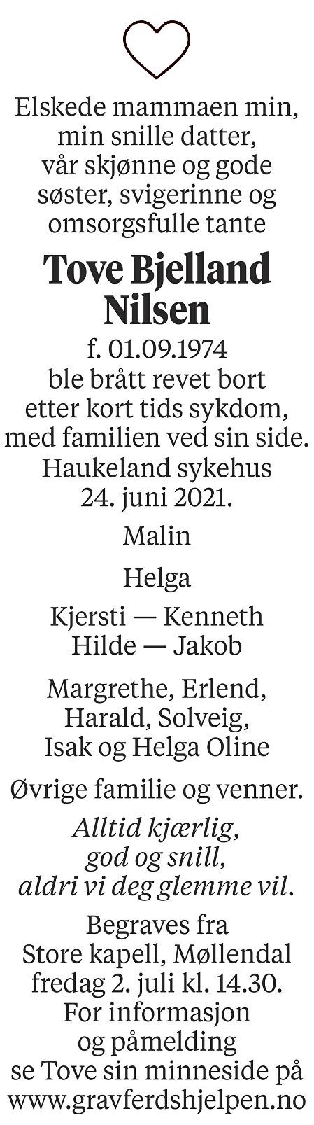 Tove Bjelland Nilsen Dødsannonse