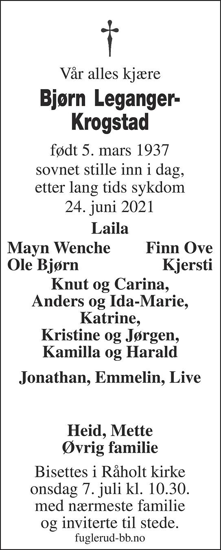 Bjørn Leganger-Krogstad Dødsannonse