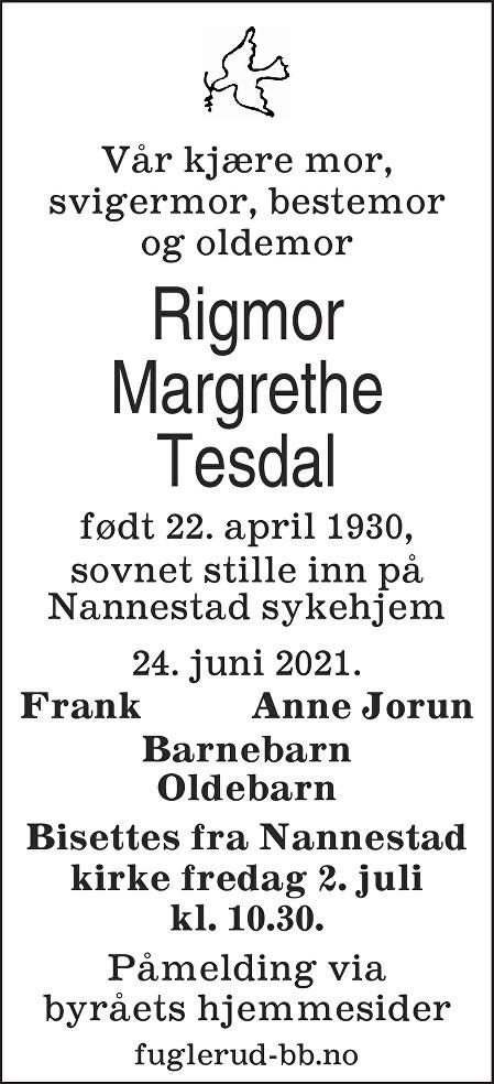 Rigmor Margrethe Tesdal Dødsannonse
