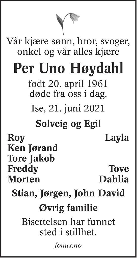 Per Uno Høydahl Dødsannonse