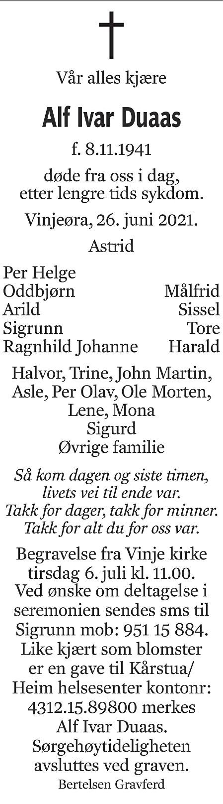 Alf Ivar Duaas Dødsannonse