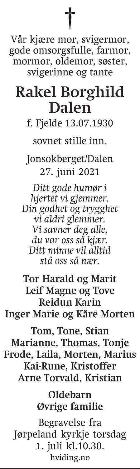 Rakel Borghild Dalen Dødsannonse