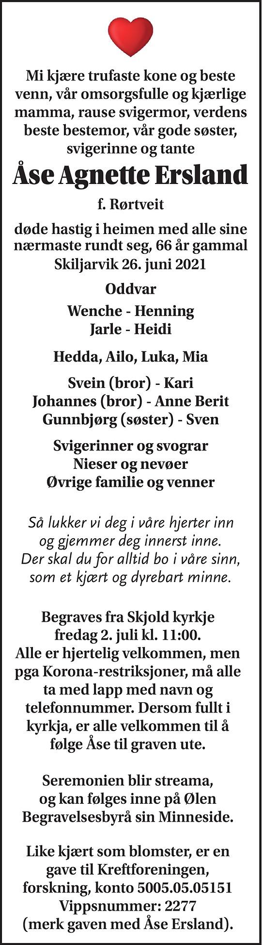 Åse Agnette Ersland Dødsannonse