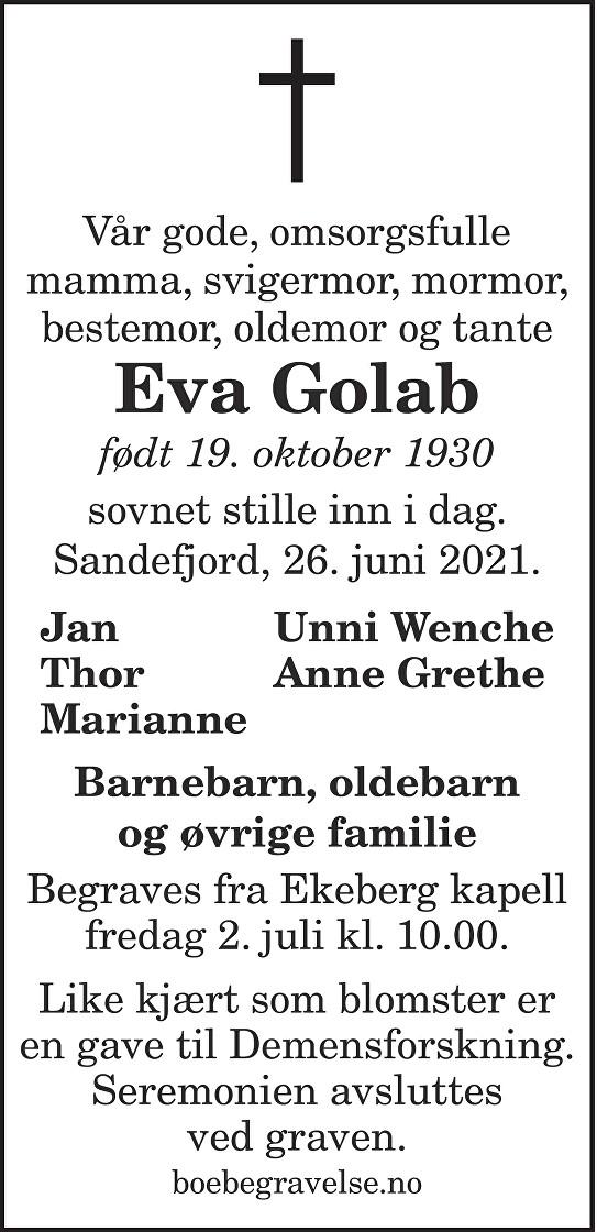 Eva Golab Dødsannonse