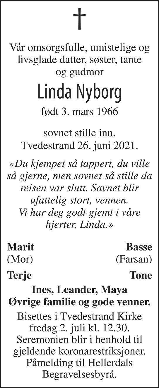 Linda Nyborg Dødsannonse