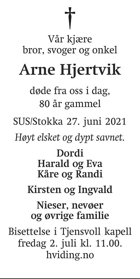 Arne Hjertvik Dødsannonse