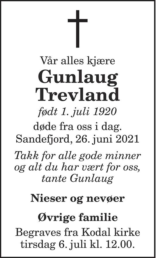 Gunlaug Trevland Dødsannonse