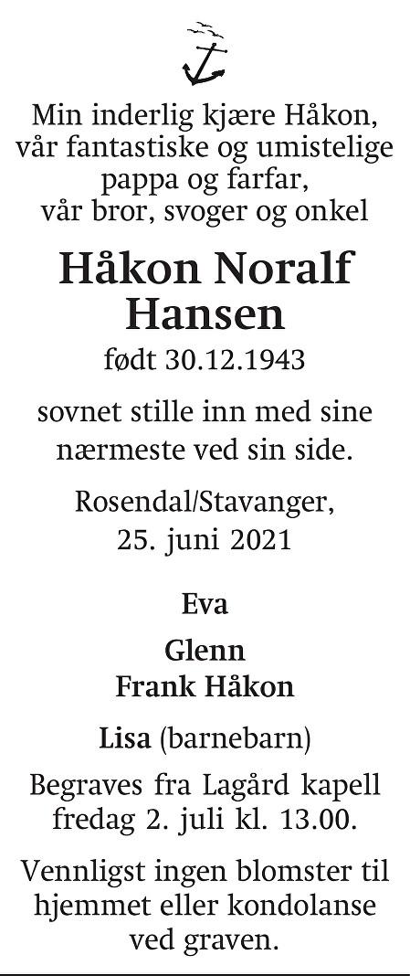 Håkon Noralf  Hansen Dødsannonse