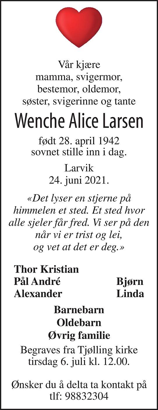 Wenche Alice Adelsten Larsen Dødsannonse