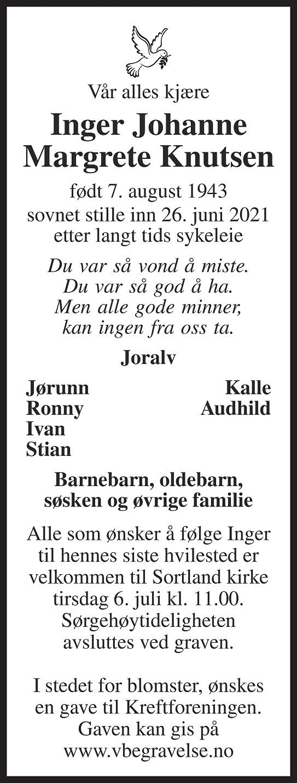 Inger Johanne Margrete Knutsen Dødsannonse