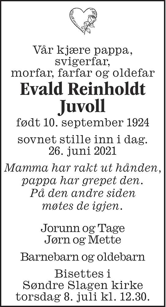 Evald Reinholdt Juvoll Dødsannonse