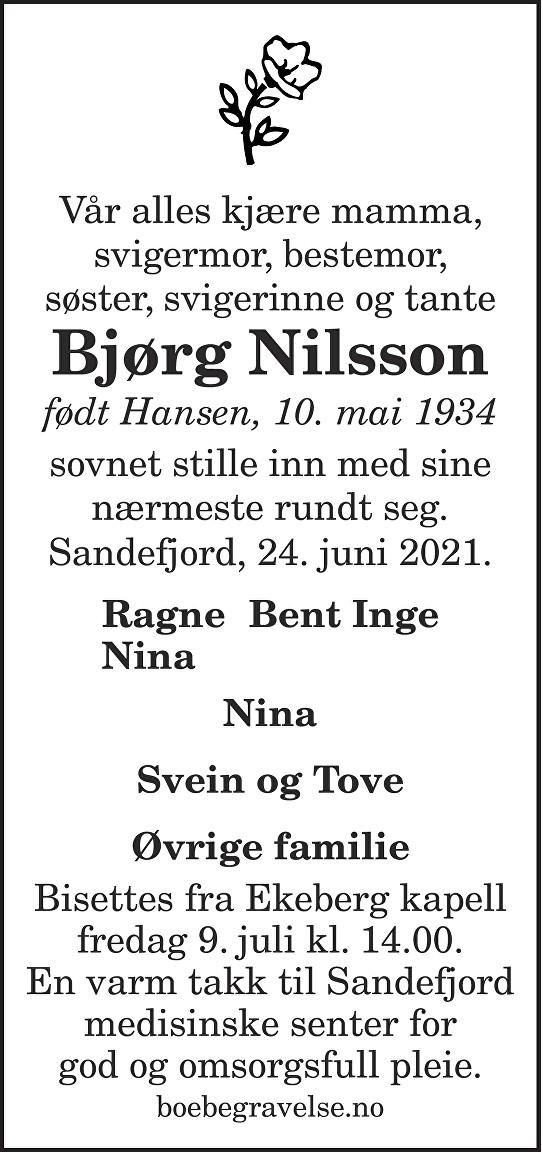Bjørg Nilsson Dødsannonse