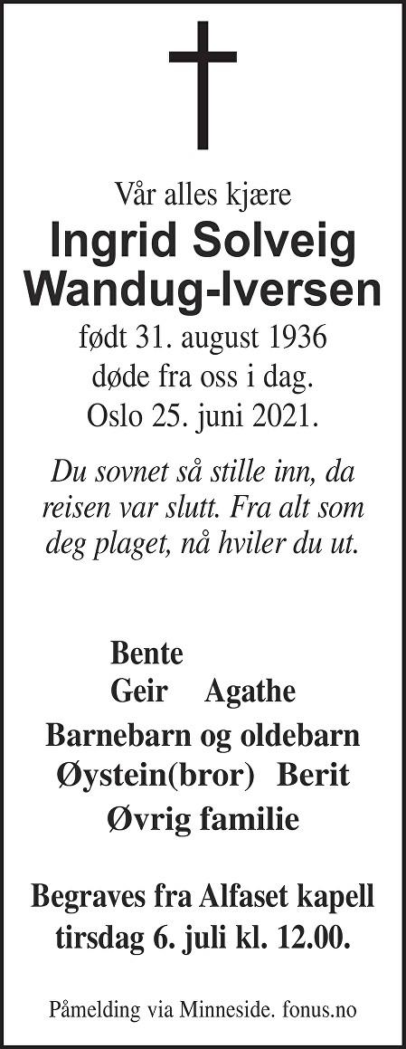 Ingrid Solveig Wandug-Iversen Dødsannonse