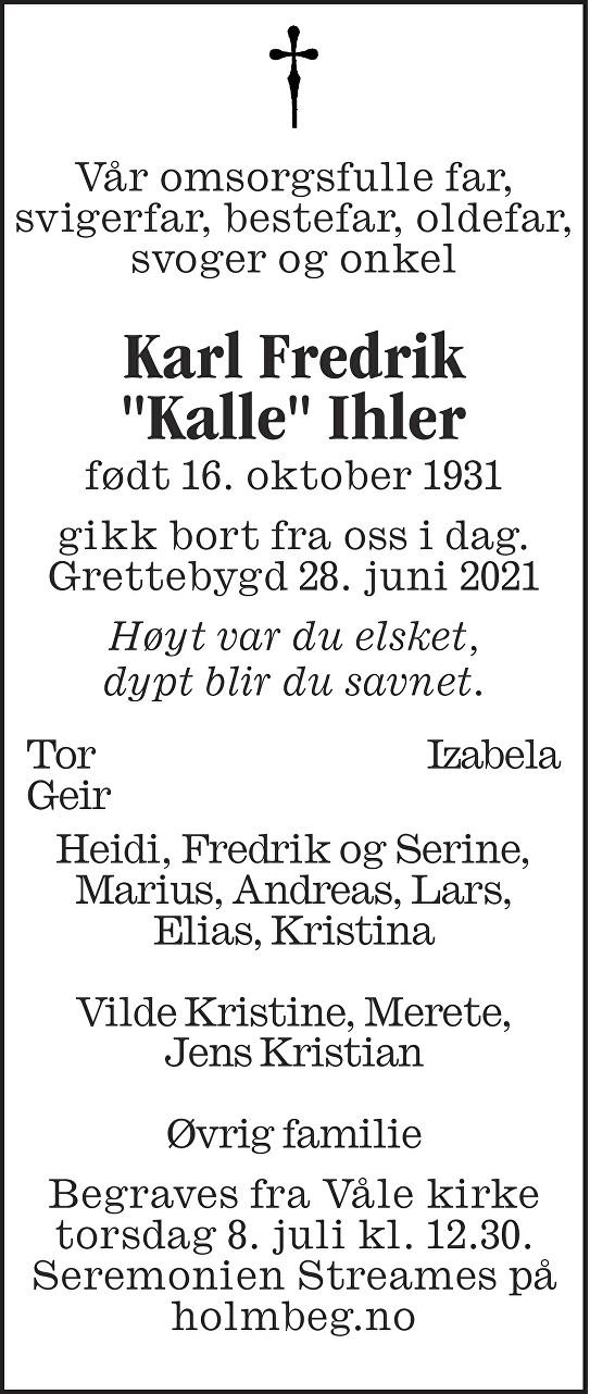 Karl Fredrik Ihler Dødsannonse
