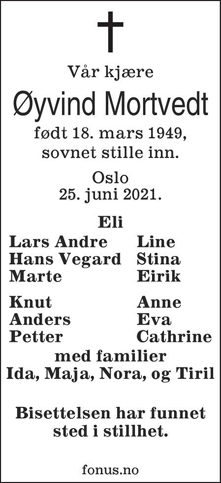 Øyvind Mortvedt Dødsannonse