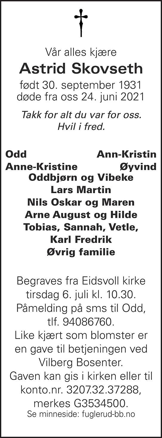 Astrid Skovseth Dødsannonse