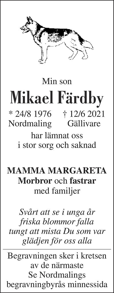 Mikael Färdby Death notice