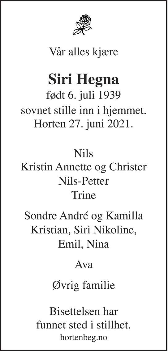 Siri Hegna Dødsannonse