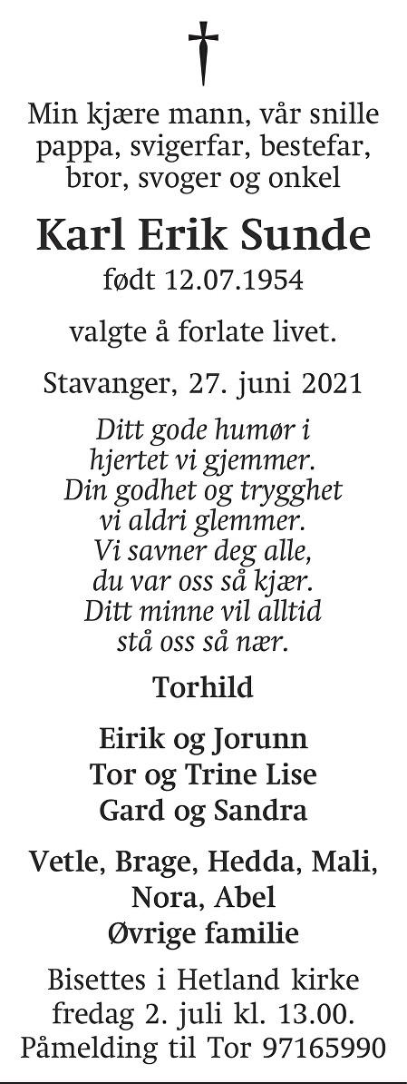 Karl Erik  Sunde Dødsannonse