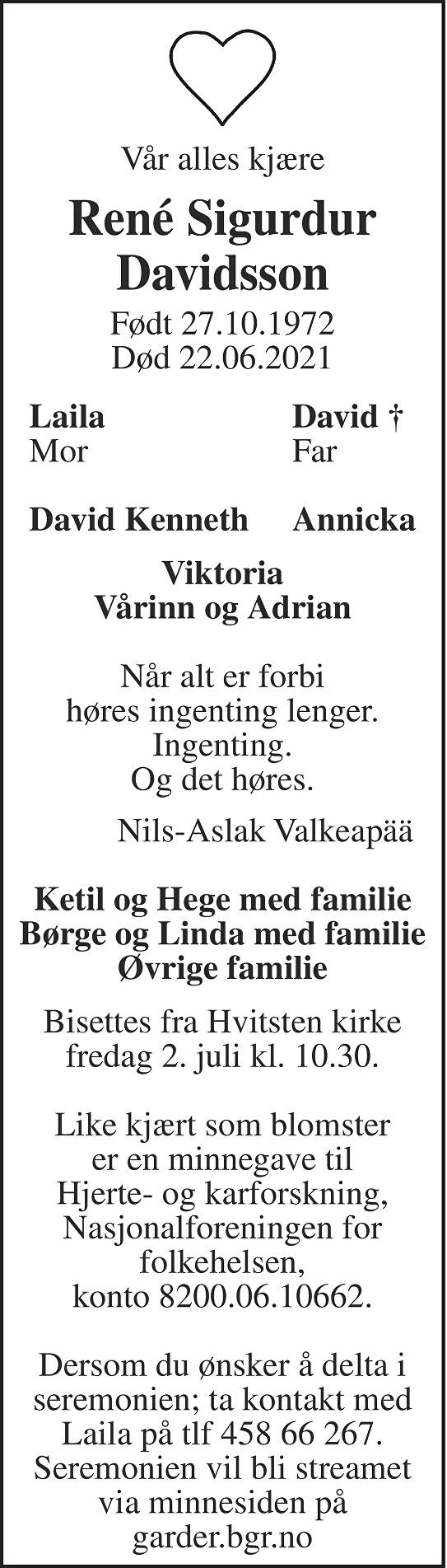 René Sigurdur Davidsson Dødsannonse