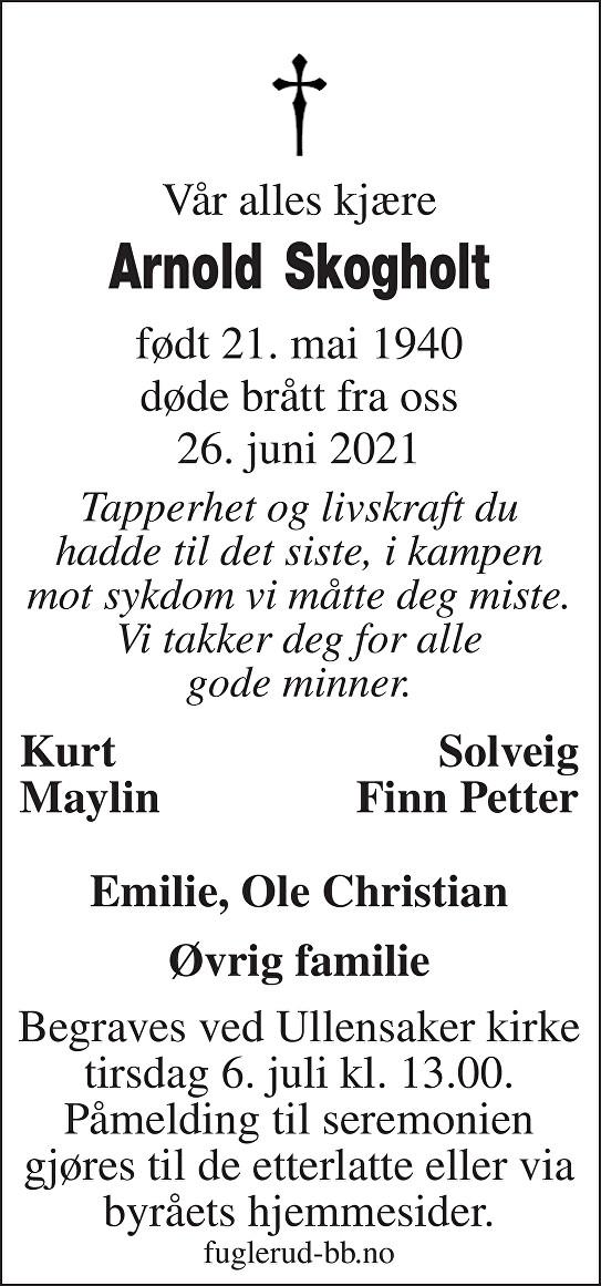 Arnold Skogholt Dødsannonse