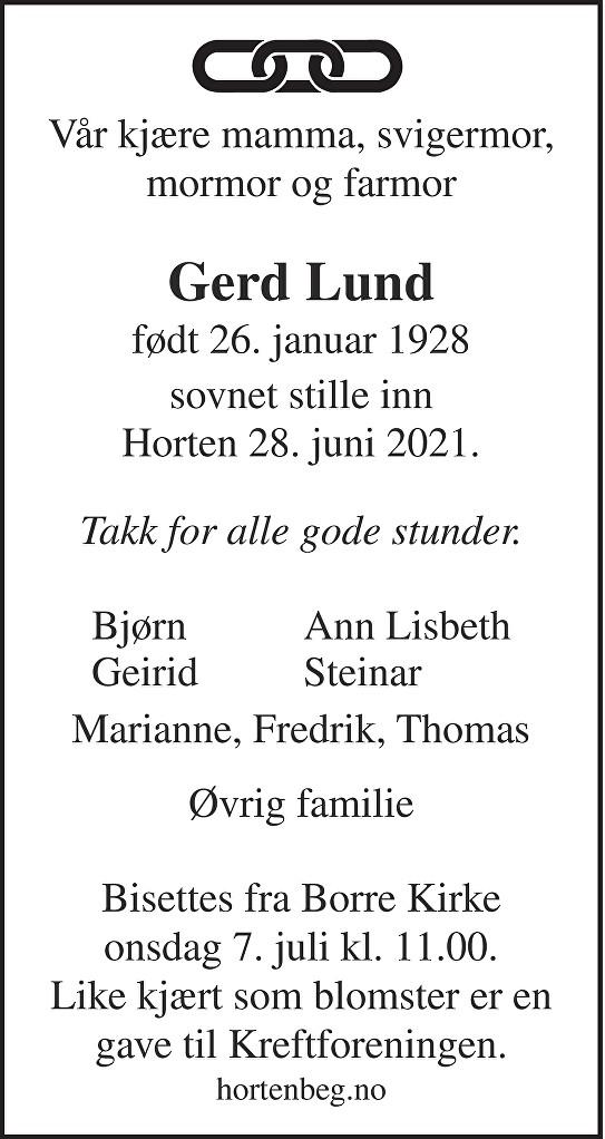 Gerd Lund Dødsannonse