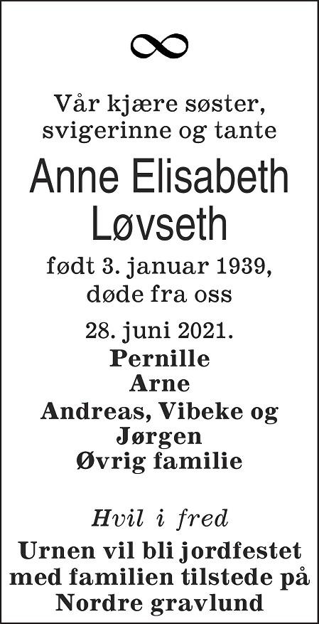 Anne Elisabeth Løvseth Dødsannonse