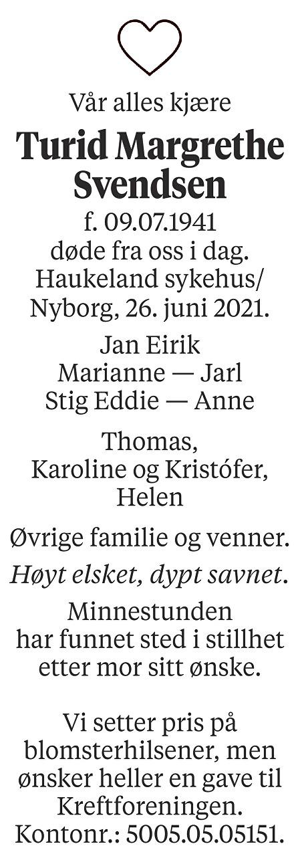 Turid Margrethe Svendsen Dødsannonse