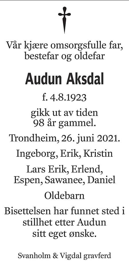 Audun Aksdal Dødsannonse